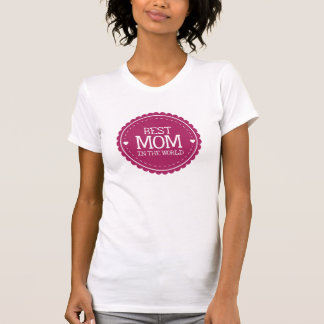 Best Mom in the World Pink Hearts and Circle Tshirt