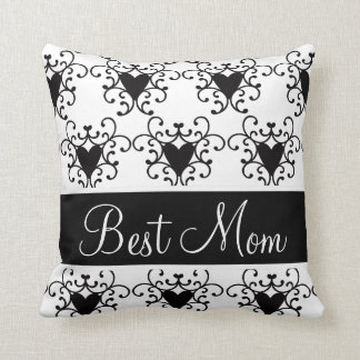 Best Mom Mother's Day Black Hearts Swirls Cushion