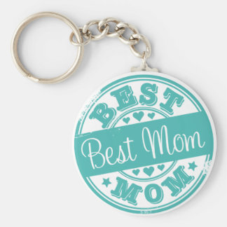 Best mom - rubber stamp effect- basic round button key ring