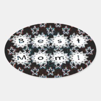 Best Mom Stars in Neon Sticker Oval Sticker