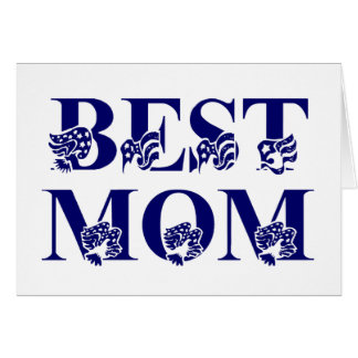 Best Mom USA Flag Text Greeting Card
