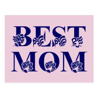 Best Mom USA Flag Text Postcard