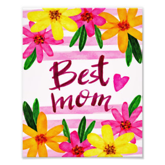 Best Mom Watercolor Shabby Chic Photo Art Print