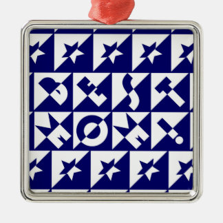 Best Mum Blue with White Pattern Stars Ornament