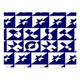 Best Mum Blue with White Pattern Stars Postcard