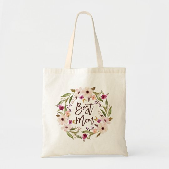 Best Mum | Bohemian Watercolor Floral Wreath Bag