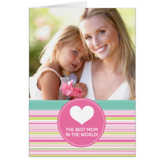 Best Mum in the World Fashion Colourful Stripes Greeting Card