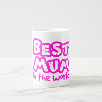 Best mum in the world pink text white china mug