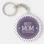 Best Mum in the World Violet Hearts and Circle Basic Round Button Key Ring