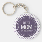 Best Mum in the World Violet Hearts and Circle Key Ring