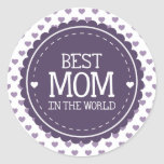Best Mum in the World Violet Hearts and Circle Round Sticker