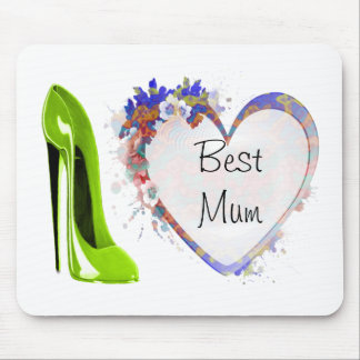 Best Mum Lime Green Stiletto Shoe and Floral Heart Mouse Mat