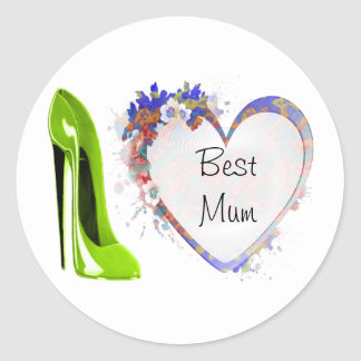 Best Mum Lime Green Stiletto Shoe and Floral Heart Round Sticker