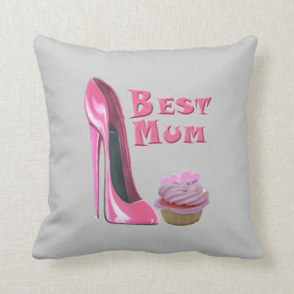Best Mum Pink Stiletto and Cupcake MoJo Pillows
