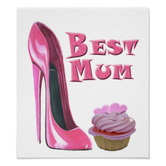 Best Mum Pink Stiletto Shoe and Cupcake Print