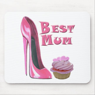 Best Mum Pink Stiletto Shoe and Cupcake with Heart Mouse Mat