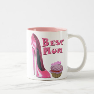 Best Mum Pink Stiletto Shoe and Cupcake with Heart Two-Tone Mug