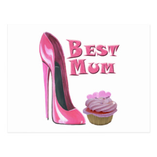 Best Mum Pink Stiletto Shoe and Cupcake with Heart Postcard