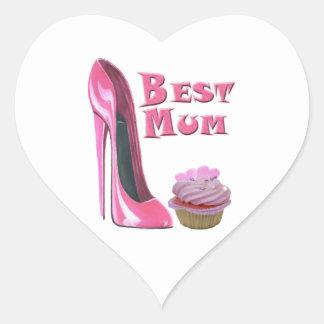 Best Mum Pink Stiletto Shoe and Pink Cupcake Gifts Heart Sticker
