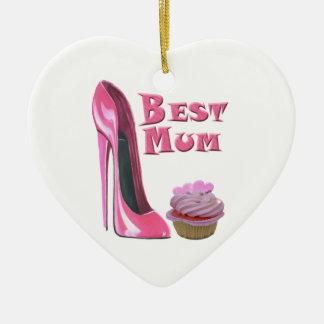 Best Mum Pink Stiletto Shoe and Pink Cupcake with  Christmas Ornament