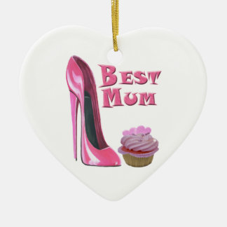 Best Mum Pink Stiletto Shoe and Pink Hearts Cupcak Christmas Ornament
