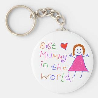 Best Mummy in World Basic Round Button Key Ring