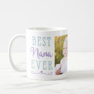 Best Nana Ever Purple Teal Custom Photo Coffee Mug