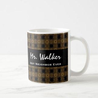 Best NEIGHBOR Ever Gold Black Squares and Stars Coffee Mug