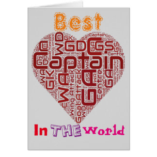 Best Netball Captain Netball Heart Design Card