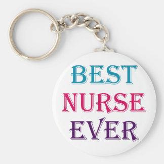 Best Nurse Ever Basic Round Button Key Ring