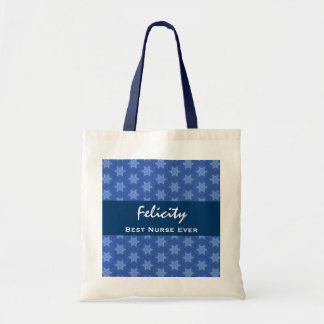 Best NURSE Ever Blue Star Pattern Canvas Bags