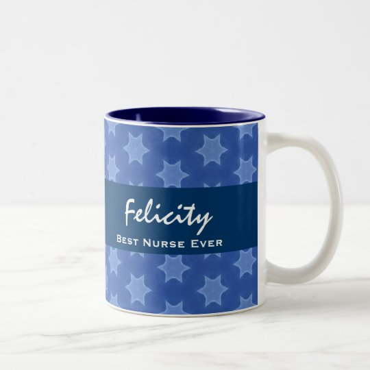 Best NURSE Ever Blue Star Pattern Two-Tone Coffee Mug