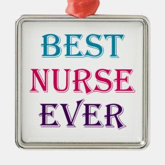 Best Nurse Ever Silver-Colored Square Decoration