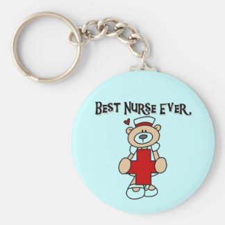 Best Nurse Ever T-shirts and Gifts Basic Round Button Key Ring