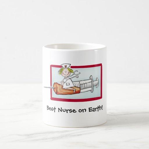 Best Nurse on Earth - Humorous Cartoon Nurse Coffee Mugs