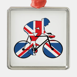 Best Of British Cyclist Union Jack Silver-Colored Square Decoration