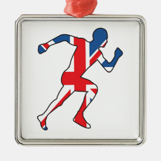 Best of British Sport Athlete Silver-Colored Square Decoration
