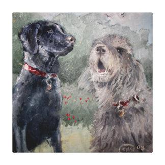 Best Of Friends. Labrador & Otterhound Canvas Print