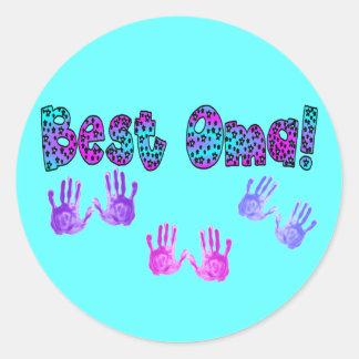 Best Oma Kids Hand Prints Gifts Round Sticker