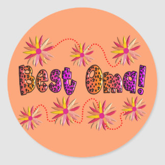 Best OMA PINK ORANGE FLOWERS Round Sticker