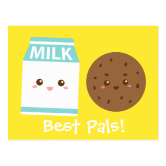 Best Pals, Cute Milk and Cookies Postcard