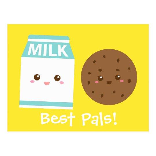 Best Pals, Cute Milk and Cookies Postcard
