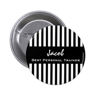 Best PERSONAL TRAINER Black White Striped Pattern Pin