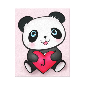 Best Personalized Panda Fan Room Decoration Gift Stretched Canvas Print