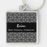Best PHYSICAL THERAPIST Silver and Black Gift Silver-Colored Square Key Ring