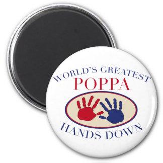 Best Poppa Hands Down 6 Cm Round Magnet