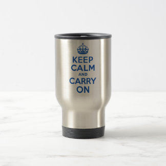 Best Price Keep Calm And Carry On Blue Stainless Steel Travel Mug