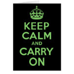 Best Price Keep Calm And Carry On Green Greeting Card