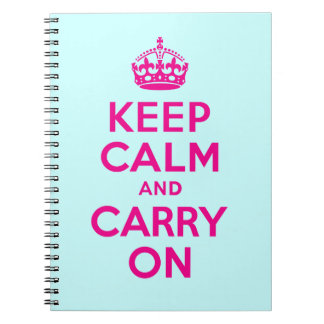 Best Price Keep Calm And Carry On Hot Pink & Teal Notebooks