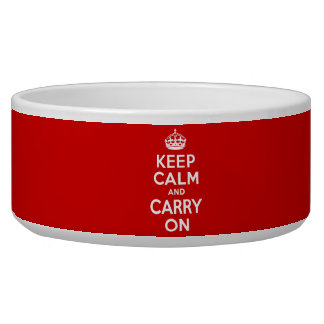 Best Price Keep Calm And Carry On Original Red Dog Food Bowl
